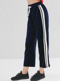 Drawstring Side Striped Velvet Pants - Midnight Blue L