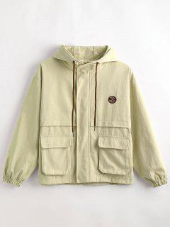 Hooded Letter Drop Shoulder Jacket - Light Khaki Xl
