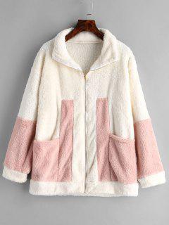 Zip Front Contrast Faux Fur Coat - Beige L