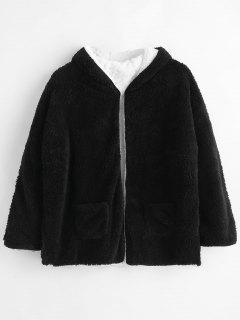 Convertible Open Front Faux Shearling Coat - Black