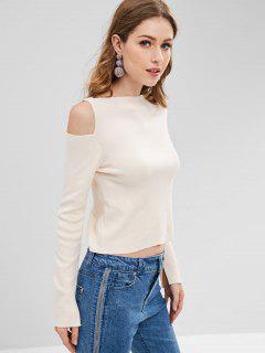 ZAFUL Cutout Cold Shoulder Sweater - Warm White