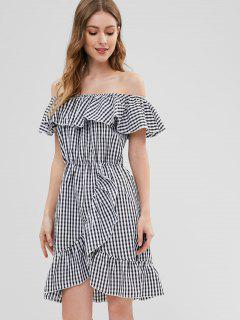 ZAFUL Ruffles Gingham Off Shoulder Dress - Black M