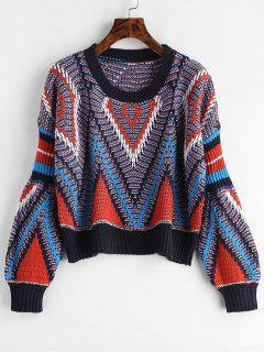 Geometric Graphic Crop Sweater - Multi