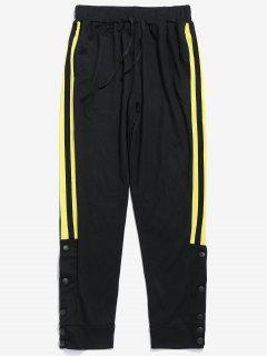 Snap Buttons Striped Jogger Pants - Yellow S