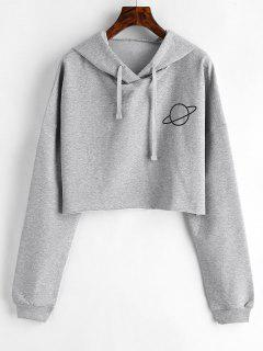 Raw Hem Planet Graphic Hoodie - Gray Cloud S