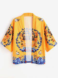 Dragon Print Kimono Cardigan - Yellow M
