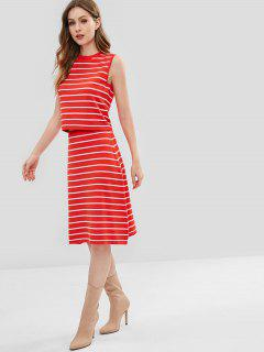 ZAFUL Striped Sweater Tank Top And Skirt Two Piece Set - Red S