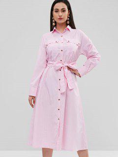 ZAFUL Stripes Flap Pockets Shirt Dress - Pink