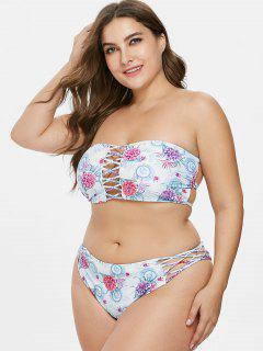 ZAFUL Plus Size Flower Braided Bikini Set - Light Blue L