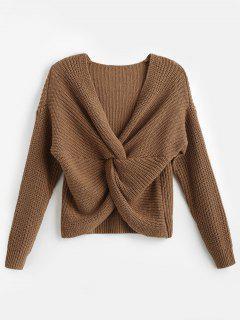 Surplice Twist Front Drop Shoulder Sweater - Dark Khaki