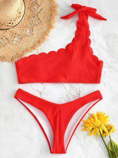 ZAFUL - Geripptes, überbackenes Bikini-Set - Leuchtend Orange L