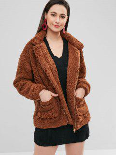 Zip Up Fluffy Faux Fur Winter Coat - Blood Red L