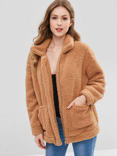 Zip Up Fluffy Faux Fur Winter Coat - Camel Brown M