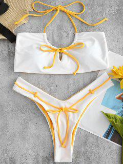 ZAFUL Ensemble De Bikini à Jambe Haute à Col Halter Avec Trou De Serrure - Blanc L