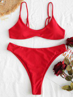 ZAFUL - Tailliertes Bikini-Set Mit Hohem Bund - Lava Rot L