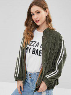 Baggy Faux Fur Lined Corduroy Jacket - Sage Green