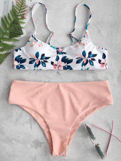 ZAFUL Bikini-Set Mit Blattdruck - Orange Rosa L