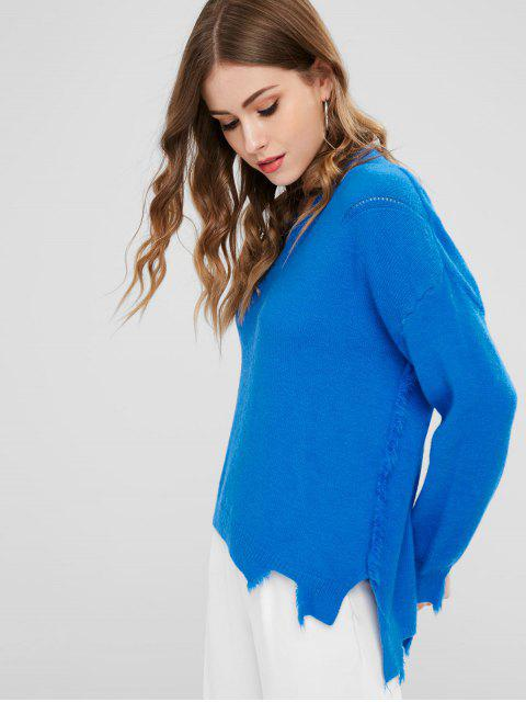 new V Neck High Low Sweater - DODGER BLUE ONE SIZE Mobile