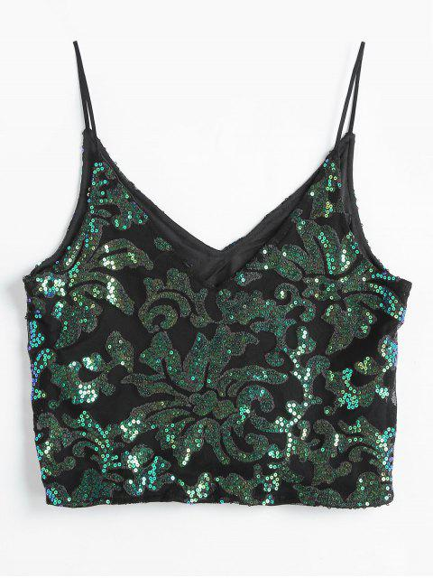 affordable Sparkly Sequins Cami Top - BLACK L Mobile