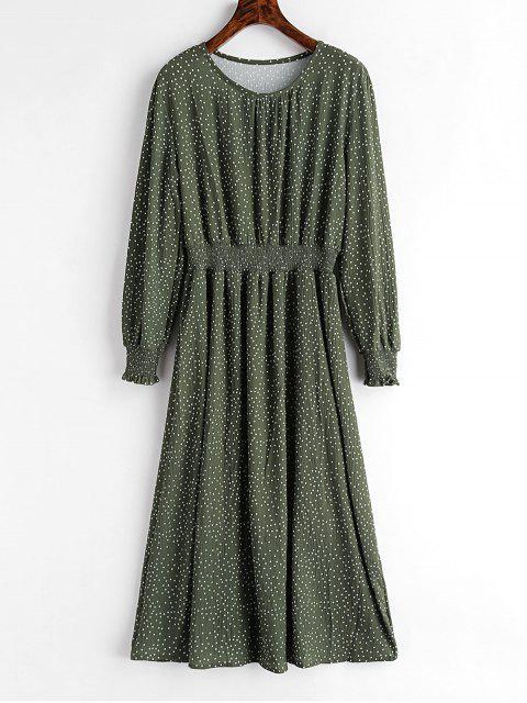 lady Smocked Waist Polka Dot Dress - HAZEL GREEN L Mobile
