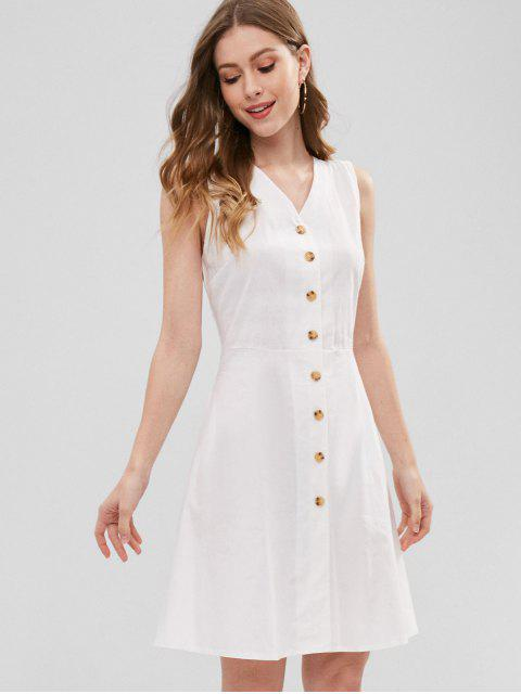 shop Cross Back Button Through Dress - WHITE M Mobile