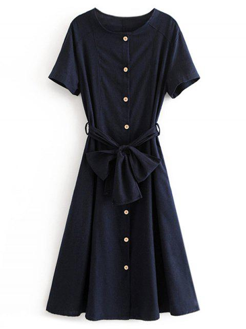 sale Button Up Belted A Line Dress - MIDNIGHT BLUE L Mobile