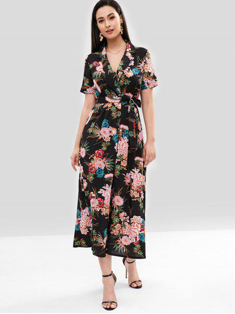 ladies Flower Belted Surplice Dress - BLACK S Mobile
