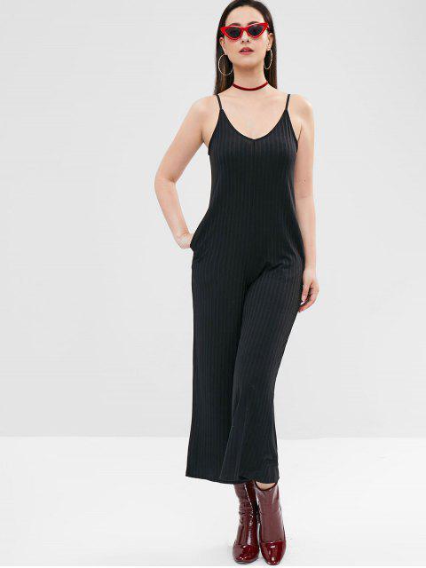 Jumpsuit de pierna ancha de Jersey - Negro L Mobile