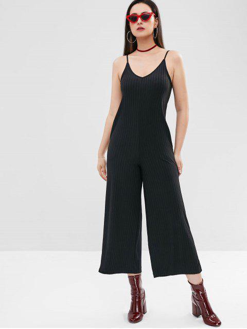 sale Jersey Wide Leg Jumpsuit - BLACK L Mobile