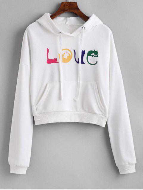 latest Letter Graphic Front Pocket Hoodie - WHITE ONE SIZE Mobile