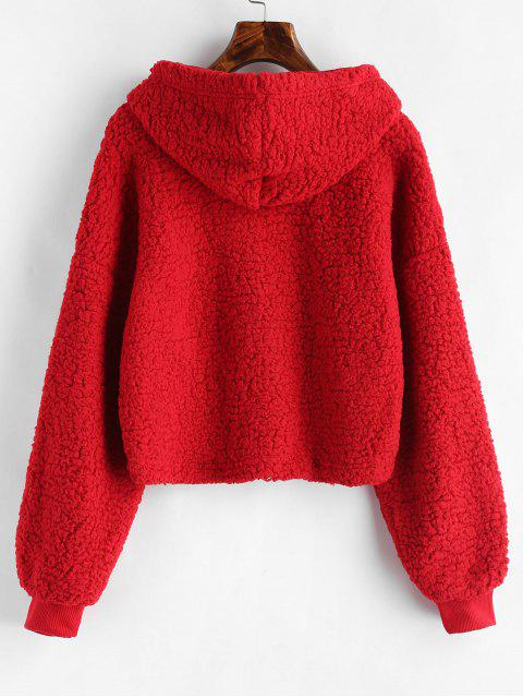 womens Loose Fit Faux Fur Hoodie - RED L Mobile