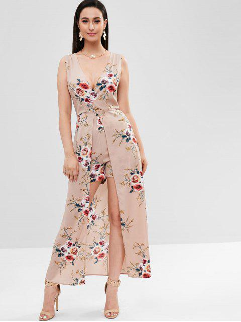 affordable Backless Floral Maxi Romper Dress - ORANGE PINK XL Mobile