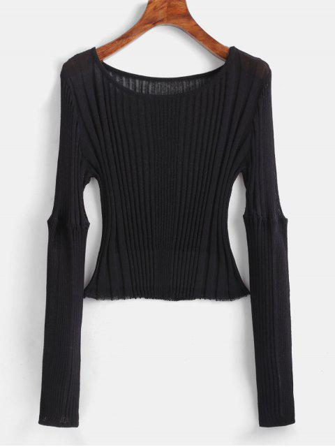 new Ribbed Fitted Crop Sweater - BLACK ONE SIZE Mobile