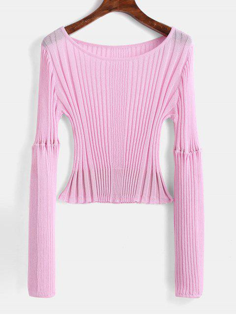 outfit Ribbed Fitted Crop Sweater - BLUSH PINK ONE SIZE Mobile