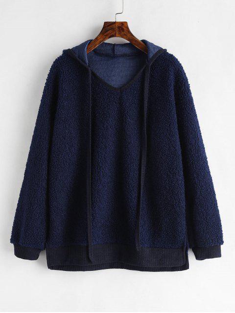 trendy Side Slit Fluffy Hoodie - MIDNIGHT BLUE XL Mobile