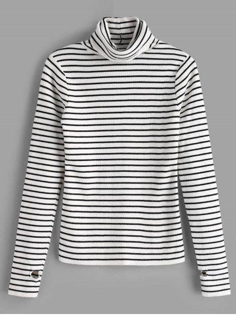 buy Thumb Hole Striped Knit Top - WHITE ONE SIZE Mobile
