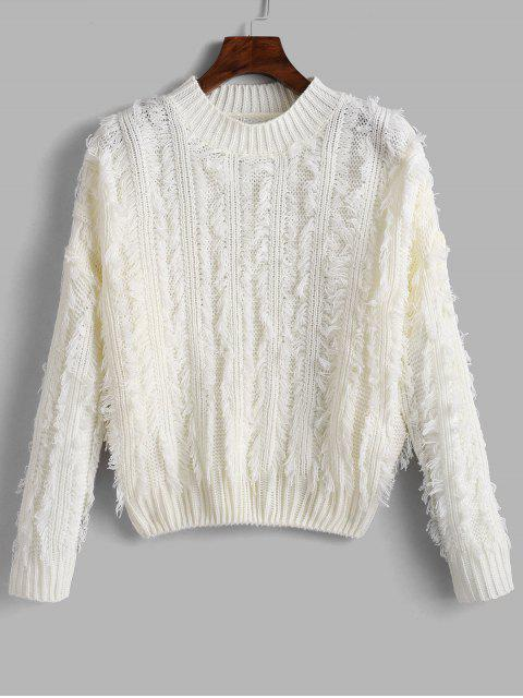 best Fringed Drop Shoulder Sweater - WHITE ONE SIZE Mobile