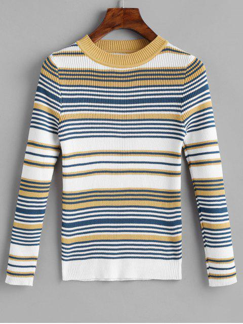 outfits Stripes Ribbed Pullover Sweater - MULTI ONE SIZE Mobile