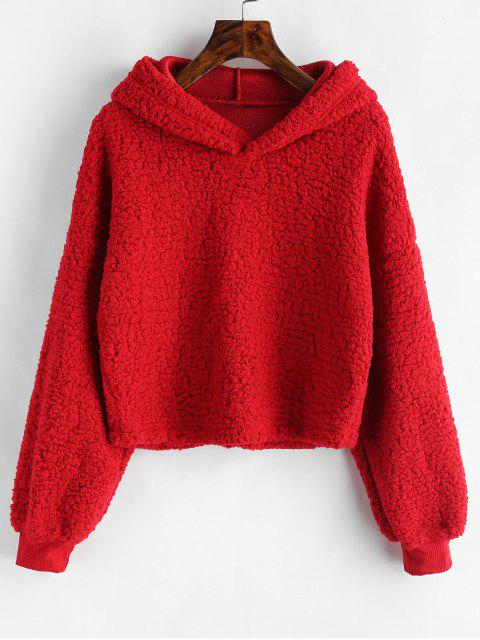 fashion Loose Fit Faux Fur Hoodie - RED S Mobile