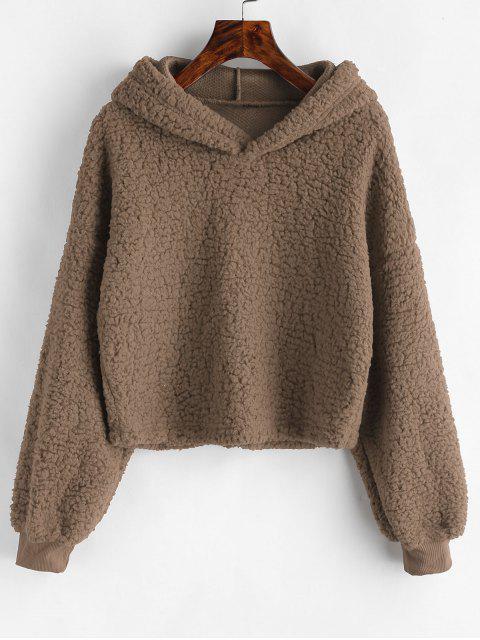 fancy Loose Fit Faux Fur Hoodie - COFFEE S Mobile