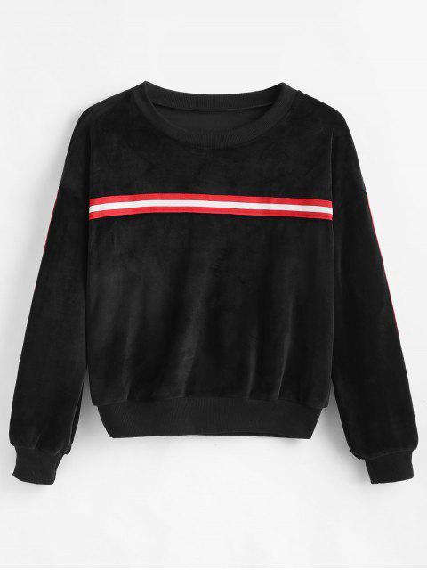 affordable Drop Shoulder Striped Velvet Sweatshirt - BLACK L Mobile