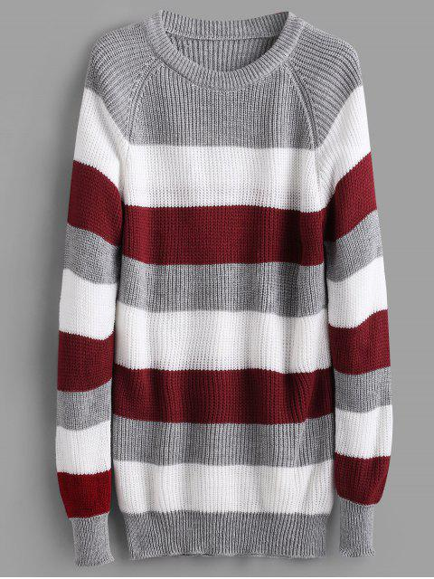 women's Raglan Sleeve Stripes Sweater - MULTI ONE SIZE Mobile