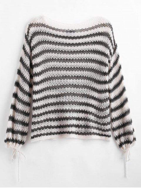best Slash Neck Striped Knitted Top - DARK FOREST GREEN ONE SIZE Mobile