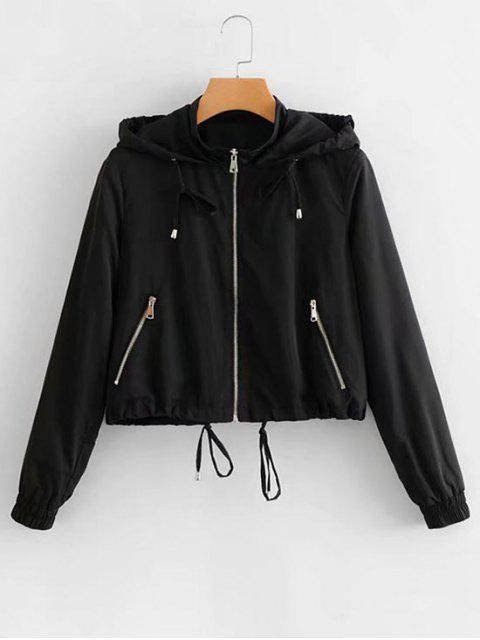 outfits Hooded Drawstring Zip Up Jacket - BLACK S Mobile