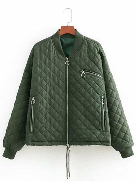 buy Loose Zipper Up Quilted Jacket - HAZEL GREEN S Mobile