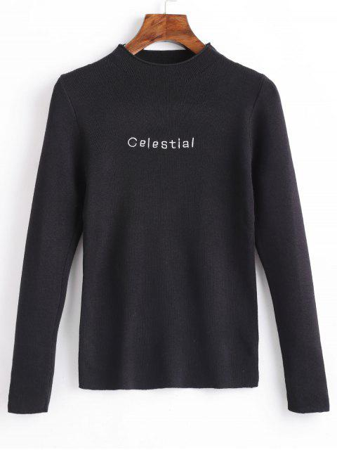 women Celestial Embroidered Pullover Sweater - BLACK ONE SIZE Mobile