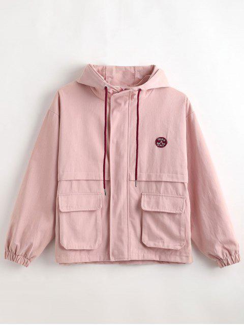 shop Hooded Letter Drop Shoulder Jacket - SAKURA PINK M Mobile