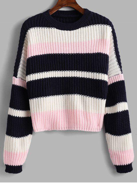 trendy Color Block Chunky Crop Sweater - PINK ONE SIZE Mobile