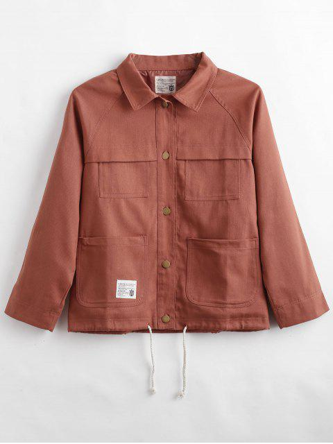 sale Raglan Sleeve Button Up Jacket - DARK SALMON L Mobile