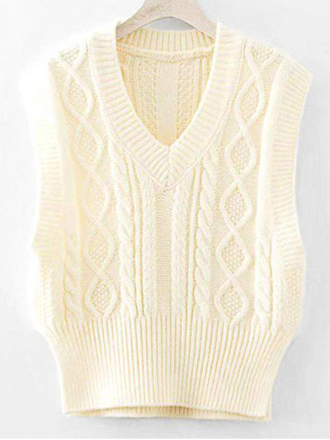 women Side Slit Cable Knit Sweater Vest - BEIGE ONE SIZE Mobile